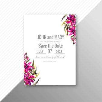 Conception de modèle d'invitation de fleurs de mariage élégant