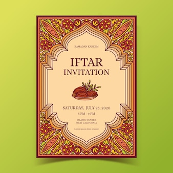 Conception de modèle d'invitation iftar