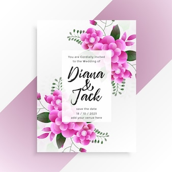 Conception de modèle d'invitation de mariage belle fleur rose