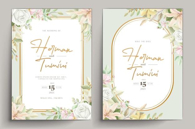 Conception de modèle d'invitation de mariage floral dessiné à la main