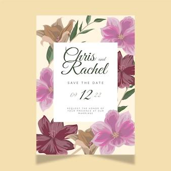 Conception de modèle d'invitation de mariage floral