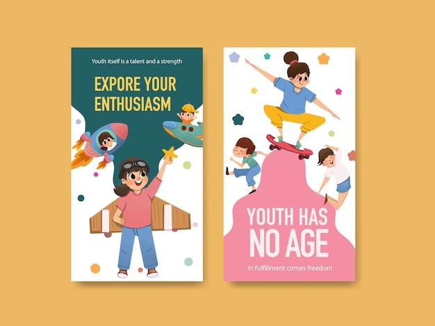 Conception de modèle de journée de la jeunesse pour la journée internationale de la jeunesse, les médias sociaux, l'aquarelle