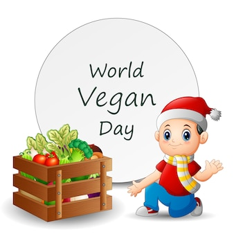 Conception de modèle de journée mondiale végétalienne avec garçon et légumes