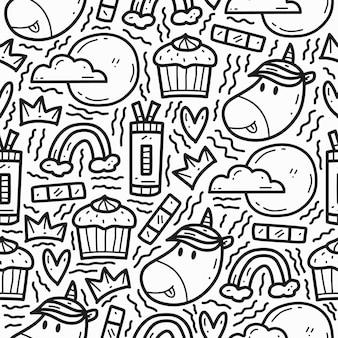 Conception de modèle de licorne dessin animé doodle dessiné à la main