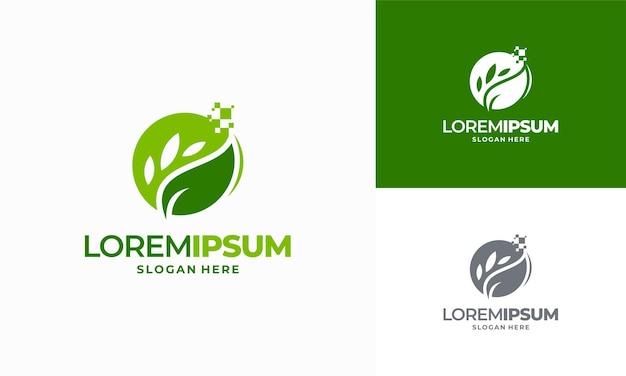 Conception de modèle de logo d'agriculture numérique, conceptions de logo leaf tech, conception de logo de technologie verte vecteur de concept