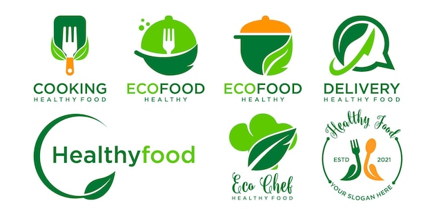 Conception de modèle de logo d'aliments sains