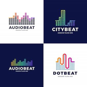 Conception de modèle de logo audio sound wave. ensemble de logotype de technologie de musique abstraite de ligne. emblème de l'élément numérique, forme d'onde du signal graphique, courbe, volume et égaliseur. illustration.