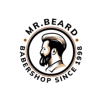 Conception de modèle de logo de barbe