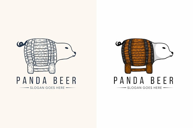 Conception de modèle de logo de bière panda avec style de ligne et couleur audacieuse.