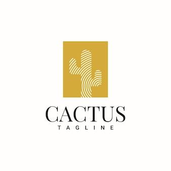 Conception de modèle de logo de cactus simple
