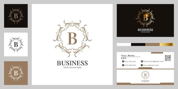 Conception de modèle de logo de cadre de fleur ornement lettre b avec carte de visite.