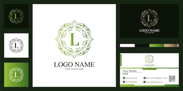 Conception de modèle de logo de cadre de fleur d'ornement de luxe lettre l avec carte de visite.
