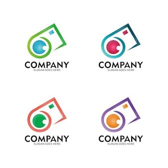 Conception de modèle de logo caméra silhouette - vecteur