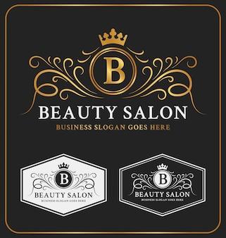 Conception de modèle de logo de crête héraldique de salon de beauté
