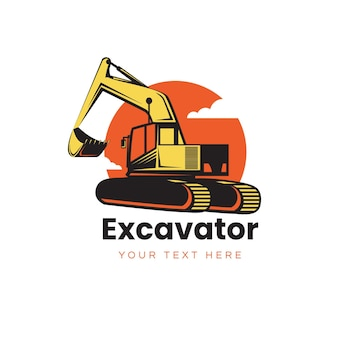 Conception de modèle de logo d'excavatrice