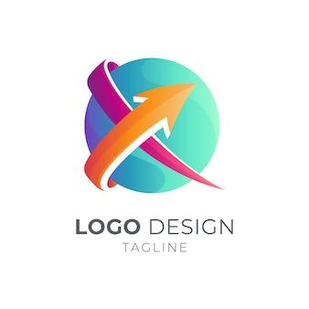 Conception de modèle de logo flèche croisée isolée
