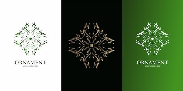Conception de modèle de logo fleur, ornement ou mandala.