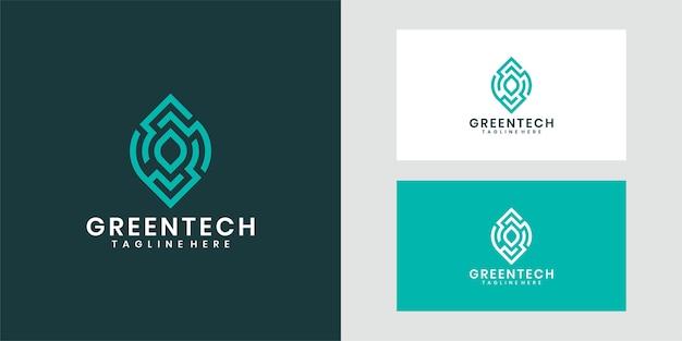 Conception de modèle de logo green tech, symbole créatif.