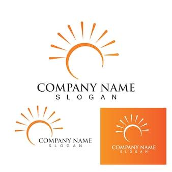 Conception de modèle de logo d'icône d'illustration vectorielle de soleil