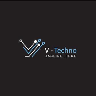 Conception de modèle de logo initial de lettre v de circuit technologique