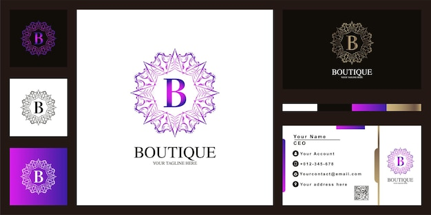 Conception de modèle de logo lettre b luxe ornement fleur cadre avec carte de visite.