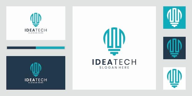 Conception de modèle de logo de luxe ampoule tech.