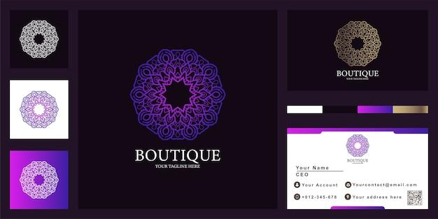 Conception de modèle de logo de luxe fleur, mandala ou ornement avec carte de visite.