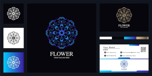 Conception de modèle de logo de luxe fleur ou ornement avec carte de visite.