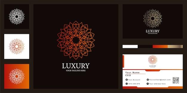 Conception de modèle de logo de luxe mandala ou ornement fleur avec carte de visite