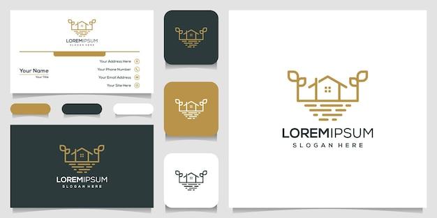 Conception de modèle de logo maison et mer et carte de visite
