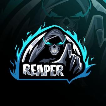 Conception de modèle de logo de mascotte reaper