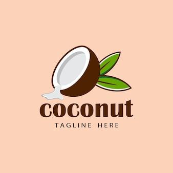 Conception de modèle de logo de noix de coco