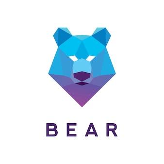 Conception de modèle de logo d'ours poly