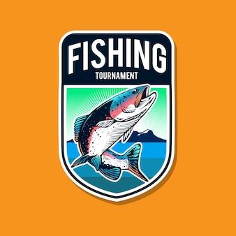 Conception de modèle de logo de pêche