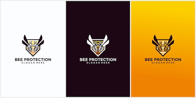 Conception De Modèle De Logo De Protection D'abeille, Protection De Conception De Modèle De Logo De Bouclier De Miel, Illustration De Conception Graphique De Vecteur D'icône De Symbole De Logo D'abeille Vecteur Premium