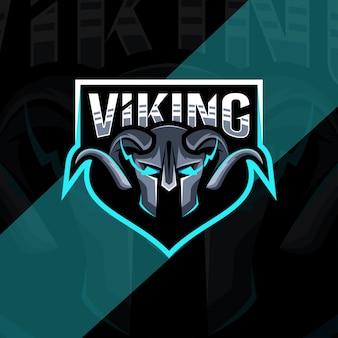 Conception De Modèle De Logo Tête Mascotte Viking Vecteur Premium