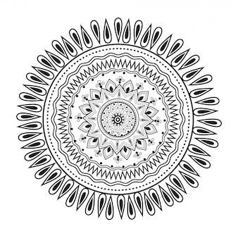 Conception de modèle de mandala ethnique en dessin au trait.