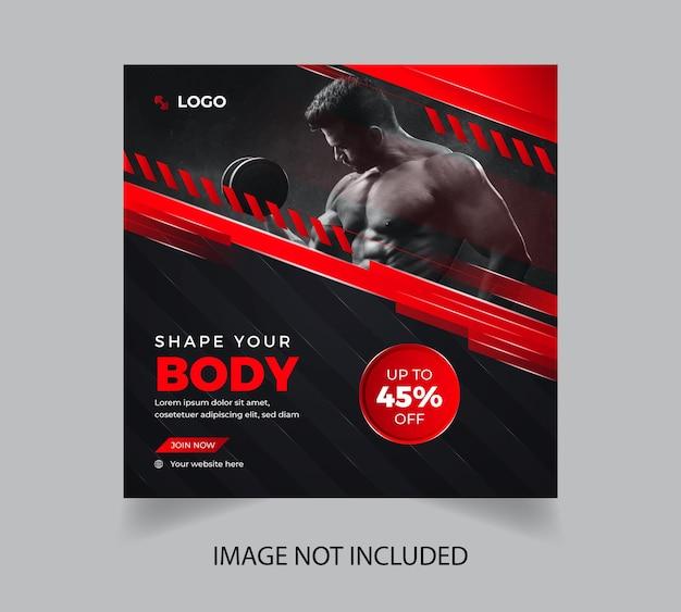 Conception de modèle de médias sociaux d'entraînement de gym de remise en forme