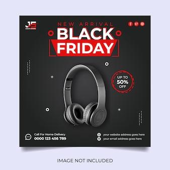 Conception de modèle de médias sociaux de vente vendredi noir moderne