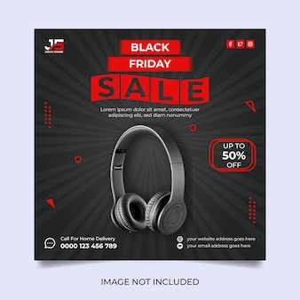 Conception de modèle de médias sociaux de vente de vendredi noir