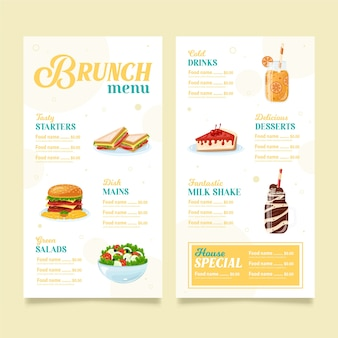 Conception de modèle de menu de brunch