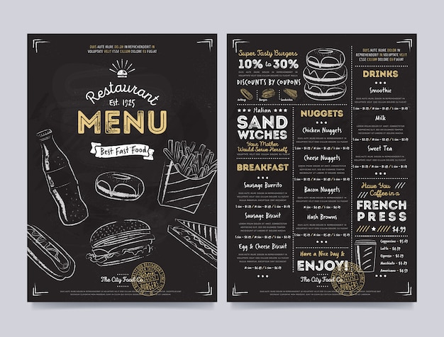 Conception de modèle de menu de café restaurant, vector