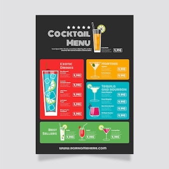 Conception de modèle de menu de cocktail