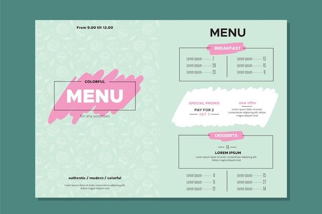 Conception de modèle de menu estaurant pour modèle