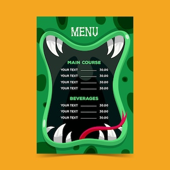 Conception de modèle de menu halloween