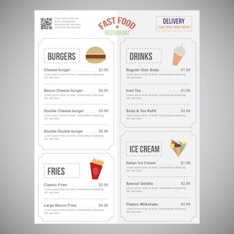 Conception de modèle de menu restaurant élégant modifiable