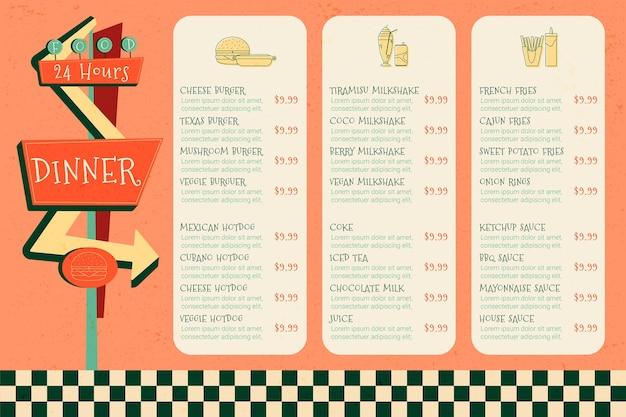 Conception de modèle de menu de restaurant numérique