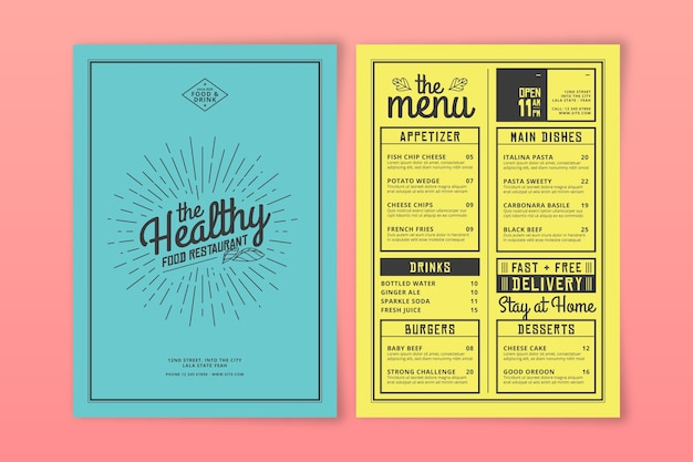 Conception de modèle de menu de restaurant