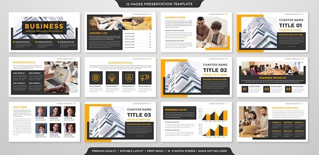 Conception de modèle de mise en page de présentation d'entreprise avec un style minimaliste et un concept moderne