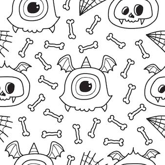 Conception de modèle de monstre doodle cartoon dessiné à la main
